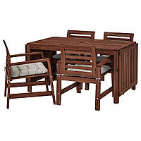 IKEA APPLARO Садовый стол и 4 стула, коричневая морилка (592.894.24), фото 1