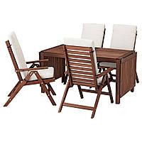 IKEA APPLARO Садовый стол и 4 раскладных стулья, коричневая морилка, (592.686.95), фото 1