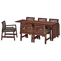 IKEA APPLARO Садовый стол и 6 стульев, коричневая (392.920.07), фото 1