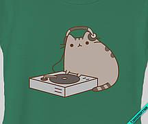 Термопринт на пояса Pusheen cat диджей [Свой размер и материалы в ассортименте]