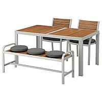 IKEA SJALLAND Садовый стол с 2 стулами и скамейкой, светло-коричневый, (592.676.53), фото 1
