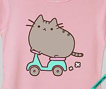 Термонаклейки на кашемир Pusheen cat на байке [Свой размер и материалы в ассортименте]