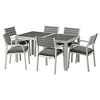 IKEA SJALLAND Садовый стол и 6 стульев, темно-серый (292.664.95), фото 1