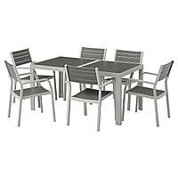 IKEA SJALLAND Садовый стол и 6 стульев, темно-серый (192.652.03), фото 1