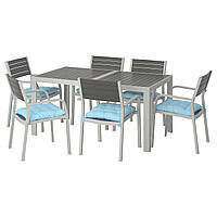IKEA SJALLAND Садовый стол и 6 стульев, темно-серый (892.916.37), фото 1