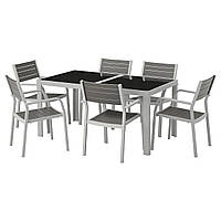 IKEA SJALLAND Садовый стол и 6 стульев, стеклянные серые (492.652.06), фото 1