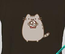 Термопереводки на костюмы Pusheen cat с кексом [Свой размер и материалы в ассортименте]