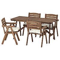 IKEA FALHOLMEN Садовый стол и 4 стула, серо-коричневый, куддарна (692.867.69), фото 1