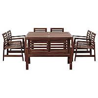 IKEA APPLARO Садовый стол с 6 стульями и скамейкой, коричневая (992.898.13), фото 1