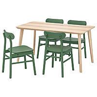 IKEA LISABO/RONNINGE Стол и 4 стула, ясень шпон, зеленый  (392.971.23), фото 1