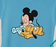 Рисунки из страз на белье для беременных Микки с Плуто маленькие [Свой размер и материалы в ассортименте]