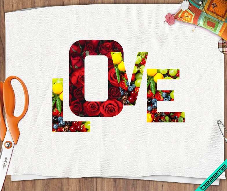 Термонаклейки на жакеты Love фрукты [Свой размер и материалы в ассортименте]