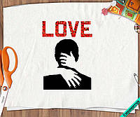 Термоперевод на одежду Love поцелуй [Свой размер и материалы в ассортименте]