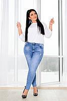 Джинсы женские стрейч джинс средняя посадка размер:48,50,52,54,56,58