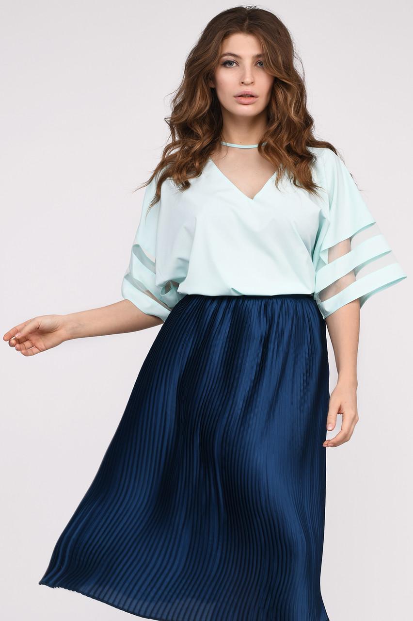 Свободная мятная блуза с короткими рукавами, фото 1
