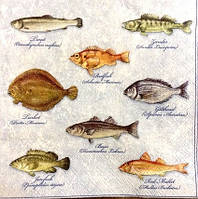 Салфетка для декупажа рыбы (33*33 см.)