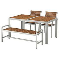 IKEA SJALLAND Садовый стол с 2 стулами и скамейкой, светло-коричневый, (992.651.57)