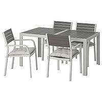 IKEA SJALLAND Садовый стол и 4 стула, темно-серый, (392.915.12)