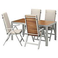 IKEA SJALLAND Садовый стол и 4 раскладных стулья, светло-коричневый, (192.670.99)
