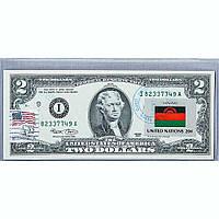 Банкнота США 2 доллара 2003 с печатью USPS, флаг Малави, Gem UNC