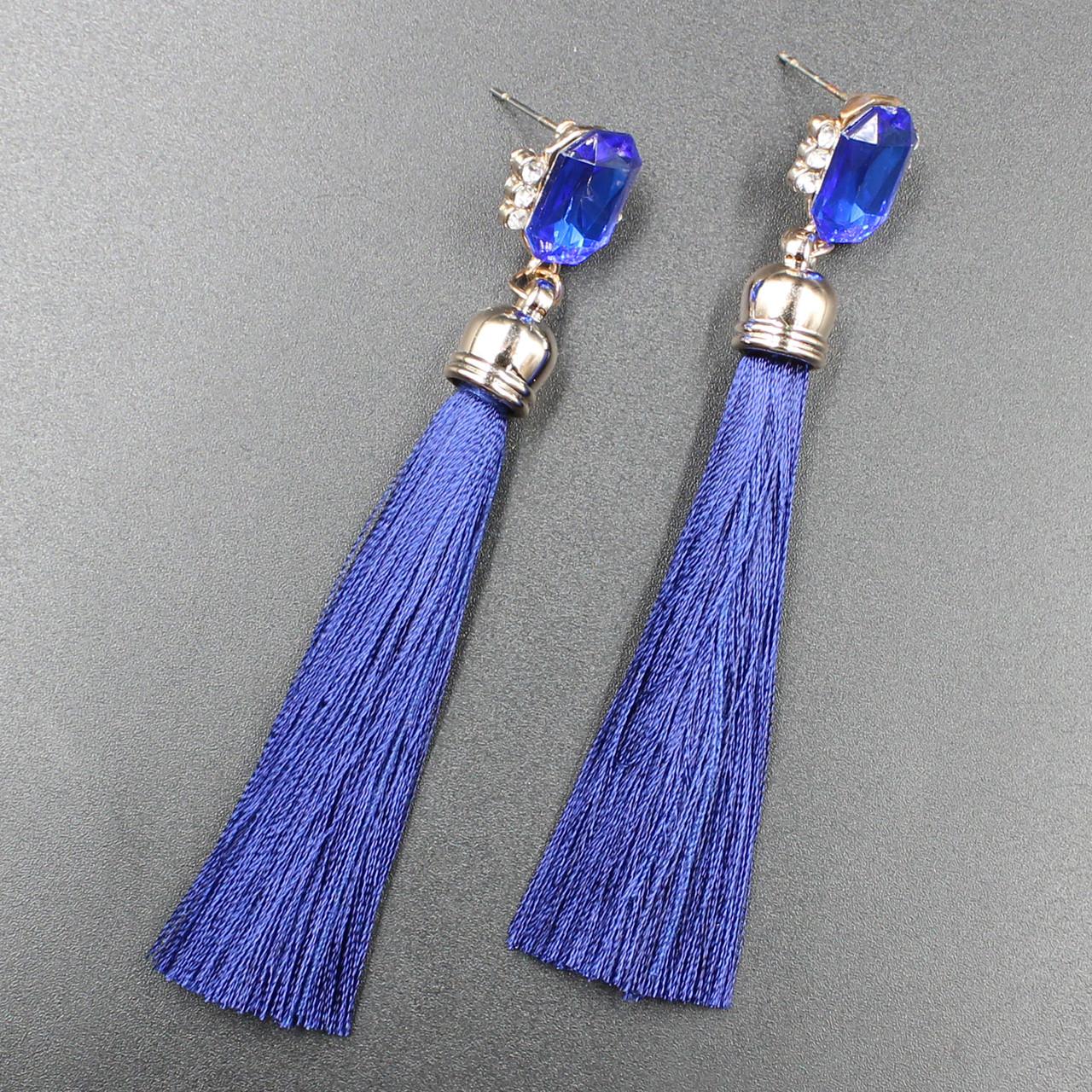 "Серьги-кисти (кисточки)  ""Imperat Blue"" L - 9,5 см"