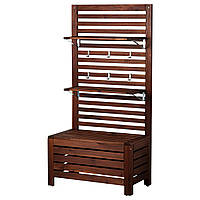 IKEA APPLARO Настенная садовая панель со скамейкой и полками, бронзовая коричневая морилка  (298.979.79), фото 1