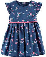 Детское платье с цветочным принтом и рюшами OshKosh размер 6М рост 61-69 см ОшКош хлопковое летнее для девочки