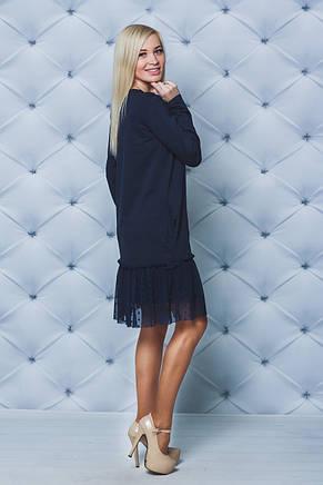 Синее женское платье с рюшей, фото 2