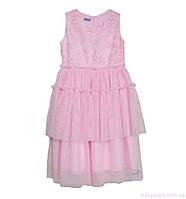 Розовое платье с вышивкой код: 7052, размеры: от 116 до 134