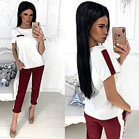Трендовый женский костюм укороченные брюки штаны и кофта блузка футболка бордовый 42-44 44-46, фото 1
