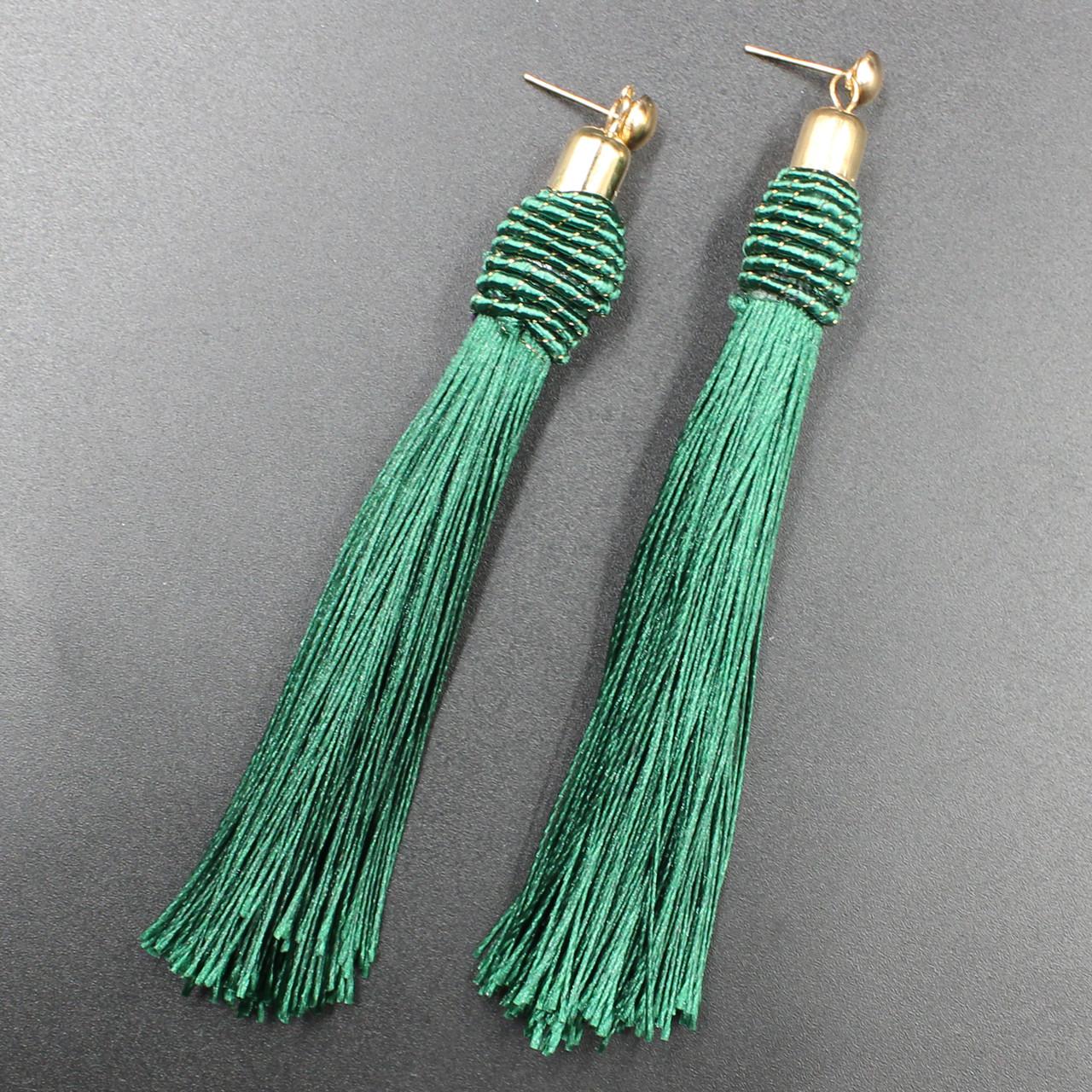 """Серьги-кисти (кисточки)  """"Jochroma Green"""" L - 10 см"""
