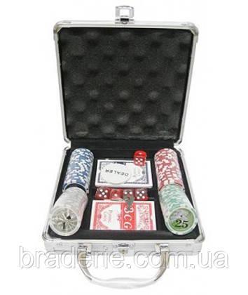 Покерный набор в кейсе 100 фишек с номиналом