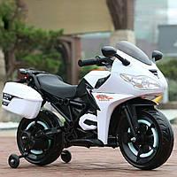 Электромобиль-мотоцикл белый, светящиеся колеса, мотор 2*14W аккумулятор 12V4.5AH деткам 3-8 лет