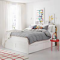 IKEA BRIMNES Кровать с ящиком для хранения и изголовьем, белый, (991.574.69)