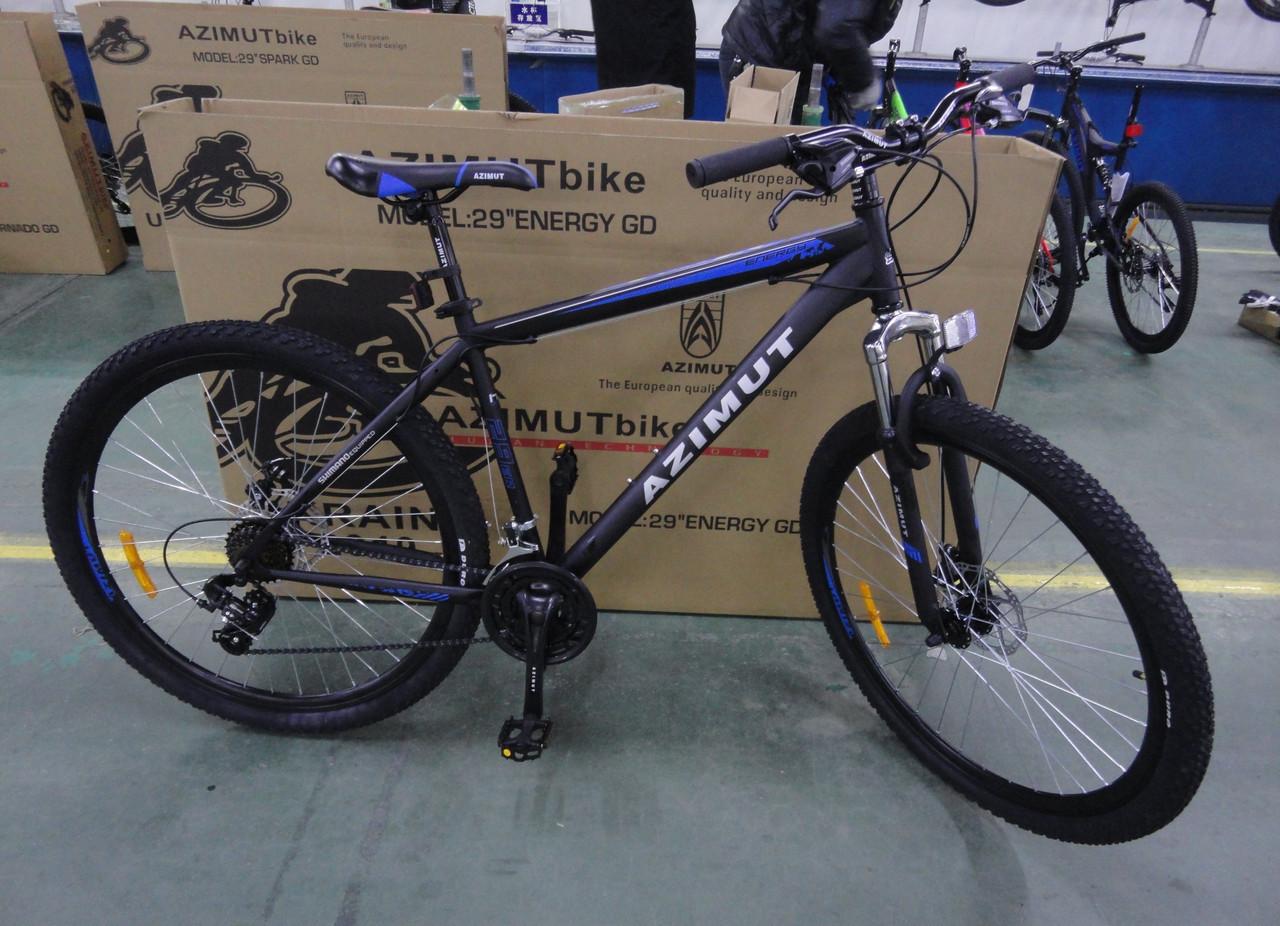 """Велосипед 2-х кол. Azimut Energy G-FR/D 26"""" Shimano, черно-синий,2020, противоударные обода"""