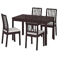 IKEA EKEDALEN/EKEDALEN Стол и 4 стула, темно-коричневый, Оррста светло-серый  (692.212.78), фото 1