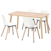 IKEA LISABO/LEIFARNE Стол и 4 стула, ясень шпон, белый  (291.614.84), фото 1