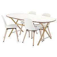 IKEA SLAHULT/DALSHULT/LEIFARNE Стол и 4 стула, береза, белый  (191.305.01), фото 1