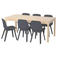 IKEA EKEDALEN/ODGER Стол и 6 стульев, береза, синий  (992.292.11), фото 1