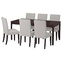 IKEA EKEDALEN/HENRIKSDAL Стол и 6 стульев, темно-коричневый, Оррста светло-серый  (492.292.61), фото 1