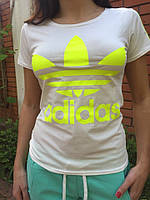 Футболка женская Adidas с лампасами белая