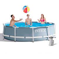 Каркасный бассейн, бассейн большой Intex 26706 366х122 см, насос, лестница 305 x 99 см 6500 л.