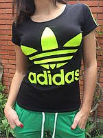 Футболка женская Adidas с лампасами черная