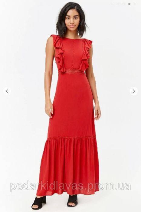 Платье-Сарафан летний  Красный длинный Forever21