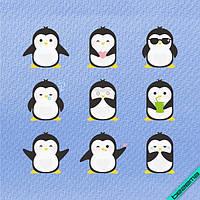 Рисунки на аксессуары Пингвины-смайлы [Свой размер и материалы в ассортименте]