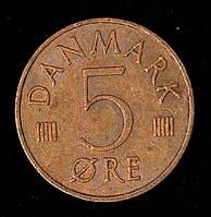 Монета Дании 5 эре 1973 г.