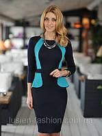 Женское деловое трикотажное платье, которое стройнит