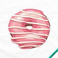 Картинки на скатерти Розовый пончик [Свой размер и материалы в ассортименте]
