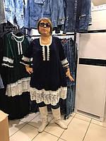 Нарядное женское платье - туника с  контрастным гипюром и кружевом, Турция  56 -60 рр синий