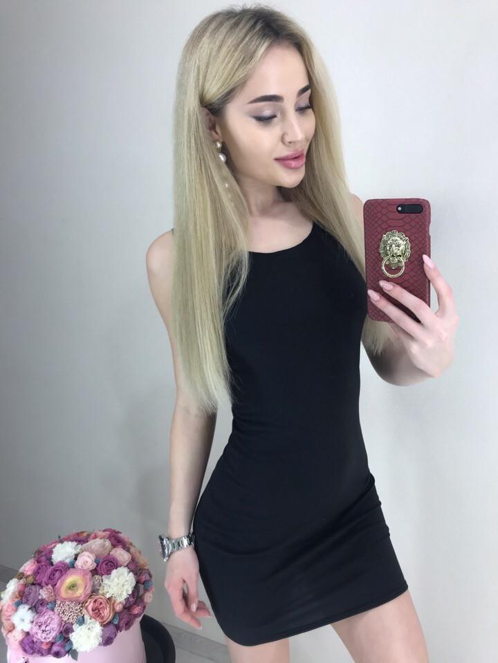 Молодежное платье майка мини вискозное черное